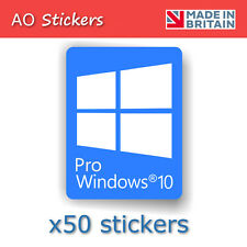 50x Windows 10 Pro Blue Logo Vinyl Label Sticker Badge for Laptop PC