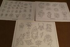 """Vintage National Tattoo Flash Sailor Ned  3 Pages 11"""" x 14"""""""