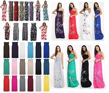 Ladies Floral Sheering Boob tube Strapless Maxi Dress Bandeau Long Size 8-24