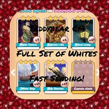 Coin Master Moby Dick Set (White Cards) White Ship,Ship Shooter Etc..(Fast Send)