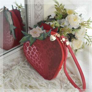 Lolita Girl Strawberry Wallet Purse Sweet Mini Handbag Makeup Bag Shoulder Bag
