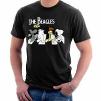 The Beagles Beatles Abbey Road Brian Snoopy Odie Funny Parody Black T-Shirt