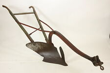 Antique Horse-Drawn Walking Chilled Plow Original Farming Red Yellow Moldboard