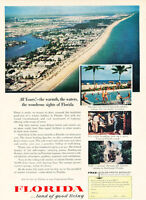 1957 Florida Coast Beach Tourism Vintage Advertisement Print Ad J468