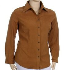 SIZE 2X-18/20 LADIES-COUNTRY-EMBROIDERED-SHIRT-WINTER-LONG SLEEVE-TAN/BROWN-NWOT