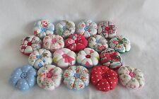 3 X MINI CATH KIDSTON fabric flower style pin cushions ROSE/STAR/DOT RANDOM MIX