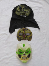 Halloween Masks x3 Skeleton, Zombie & Hooded Demon