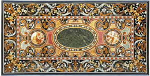 "96"" x 48"" Pietra dura Handicraft Inlay Work Marble Center Table Top"