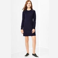 Gap Merino Shoulder Patch Sweater Dress Navy Blue M
