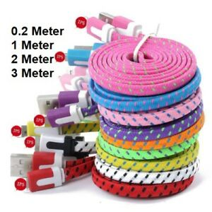 1M 2M 3M Strong Braided Flat Charger USB Cable for iPhone 12 11 X 8 7 6s 6
