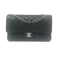 Chanel Medium Double Flap Black Caviar Silver Hardware SHW Handbag