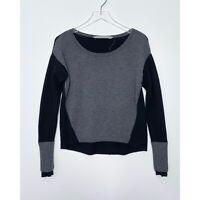 ATHLETA Merino Wool Frisco Sweater Thumbholes Pullover Black Gray size Small