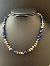 Native American Sterling Silver Navajo Pearls Lapis Necklace 16 Inch