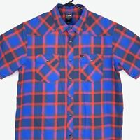 The North Face Mens Pearl Snap Shirt Size Large Check Plaid Short Sleeve Blue