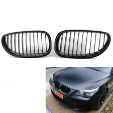 Pair Gloss Black Grille For BMW E60 E61 M5 5 Series 03-09 4.8L