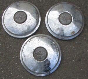 Set of 3 x Lovely Vintage Riley Chrome Hub Caps w/ Badges Classic Car Trims 22cm