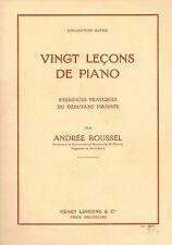 PIANO Vingt Leçons par Andrée ROUSSEL Organiste Exercices pour débutant Pianiste