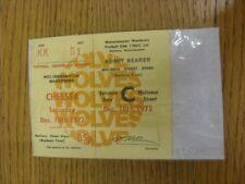 16/12/1972 Ticket: Wolverhampton Wanderers v Chelsea (Complete Ticket). Thanks f