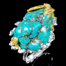 Vintage Natural Turquoise 925 Sterling Silver Ring Size 8.5/R120452