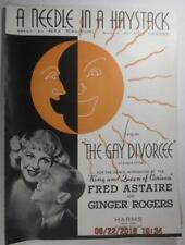 GAYT DIVORCEE 1934 MOVIE SHEET MUSIC FRED ASTAIRE A NEEDLE IN A HAYSTACK