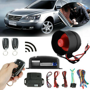 Auto Car Keyless Entry Alarm Security System with 2 Key Fob Remote Controls Y6I9