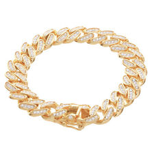 """Iced Rapper Gold Plated Cz Cuban Chain Safety Lock 8"""" Bracelet G"""