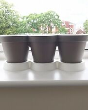 3 Herb Pots, Warm Grey And White Plastic Pots, Perfect For Windowsill Planting