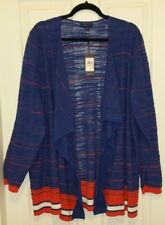 Tommy Hilfiger Blue Plus 2X Open Long Tunic Cardigan Sweater Coat NEW NWT