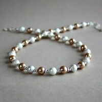 Silver stardust bronze brown pearl beaded collar choker wedding bridal necklace