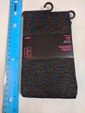 Fashion Tights Black w/ Metallic Blue Purple Gold Threads S/M NoBo No Boundaries