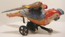 Old Rare 1910 German Hand Painted Tin Wind Up Colorful Parrot Bird - Gunthermann