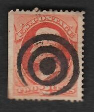US BOLD FANCY CANCEL 2c Bank 2 Thicker Rings Bulls Eye  A5