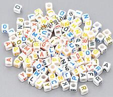 100pz misti Alfabeto / lettere di perline bianche cubo