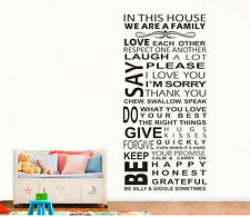 Family House Rules new wall stickers Decal Removable Art Vinyl Decor Home Kids A