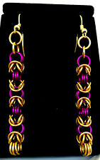 Chainmaille Purple and Brass Byzantine Earrings. 2 7/8 inches.