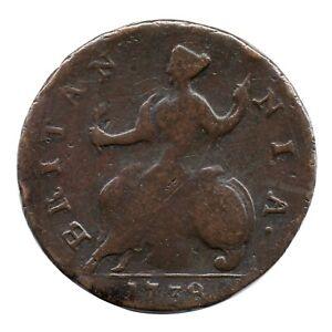 KM# 566 - Half Penny - 1/2 - George II - Great Britain 1738 (Fair)