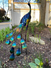 Metal Peacock Sculpture Garden Decor Yard Art Bird Statue Patio Lawn Outdoor