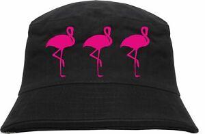 Fischerhut - 3 Flamingos - Schwarz/Pink - Bucket Hat Anglerhut 80er 80ies Neon