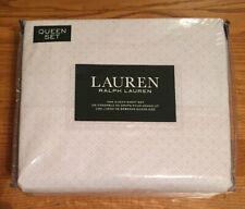 New-Ralph Lauren-Queen Sheet Set~Geometric~Dot Diamond~Pale Pink/White-100% Ctn