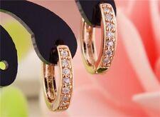 18K Real Rosa Oro Lleno Aro Pendientes hecho con cristales de Swarovski RG madre