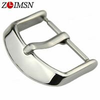 10Pcs ZLIMSN Leather Watch Band Stainless Steel Solid Silver Clasp Buckle Lot