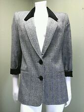 Alfred Dunner Women's Black & Gray Hounds Tooth Jacket~Size 8P