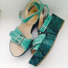 Hush Puppies Designer Collection jade green suede platform wedge sandals UK 5
