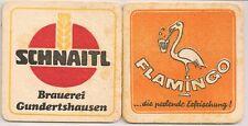 "Schnaitl Bier, Gundertshausen - alter Bierdeckel ""Flamingo.perlende Erfrischung"""