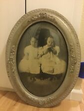Rare Antique Victorian Oval Picture Frame Curved Glass Babies, Large
