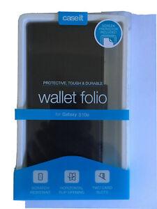 CASE IT WALLET FOLIO CASE FOR SAMSUNG GALAXY S10e INC.SCREEN PROTECTOR BLACK