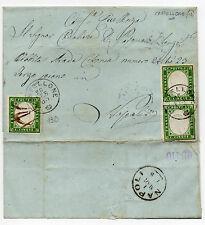 ANTICHI STATI 1863 SARDEGNA C.5 SINGOLO+COPPIA VERDE SCURO CASTELLONE26/2 D/2148
