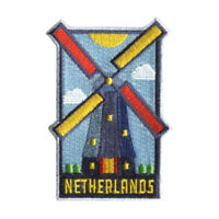 Netherlands Iron On Travel Patch - Holland Windmill