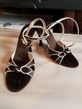 Authentic Oscar De La Renta Brown Satin Strappy Leather Bow Shoes. Sz. 40