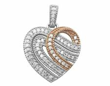 Ladies 10K Two Tone Milgrain Ribbon Heart Genuine Diamond Pendant 0.25CT 0.8""